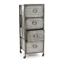 Four Drawer Industrial Bin Unit - Strikingly industrial and eminently useful, our open-framed standing bin unit is certain to add the perfect touch of retro modern to your décor with punctured steel finish, convenient wheels, and four deep sliding drawers for handy storage.