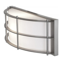 Access Lighting - Tyro 1-Light Outdoor Wet Location Wall Fixture - Contemporary half circle wall fixture with metal frame. Available in bronze or satin