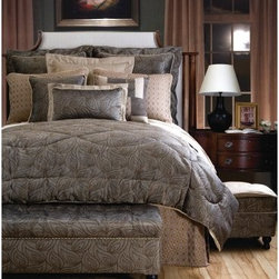 Jennifer Taylor Biltmore Comforter/Duvet Set - The Jennifer Taylor Biltmore Comforter/Duvet Set offers sleek modern style that is still rich in luxury. This comforter set features woven jacquard in a khaki leaf pattern with a subtle metallic sheen and neutral strie fabric for a touch of organic glamour. It is available in several size options, each with coordinating pillow shams with subtle trims and smartly finished edges.Additional Details10-piece set: 1 comforter/duvet: 110 x 96 inches1 bed skirt: 78 x 80 inches (18-inch depth)3 Euro shams: 26 x 26 inches2 kings shams: 21 x 37 inches3 décor pillows9-piece set: 1 comforter: 93 x 96 inches1 bed skirt: 60 x 80 inches (18-inch depth)2 Euro shams: 26 x 26 inches2 standard shams: 20 x 27 inches3 décor shams4-piece set: 1 comforter: 104 x 96 inches1 bed skirt: 60 x 80 inches (18-inch depth)2 king shams: 21 x 37 inchesAbout ACG Green Group, Inc.ACG Green Group is a home furnishing company based in Irvine, California and is a proud industry partner with the American Society of Interior Designers. ACG Green features Jennifer Taylor and Sandy Wilson, their exclusive home décor lines. These two complete collections offer designer home furniture, bedding sets, dining linens, curtains, pillows, and more in classic silhouettes, original designs, and rich colors to complement your home and life.