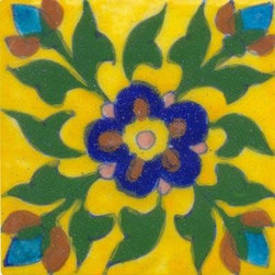 "Knobco - Tiles 3x3"", Blue and green tile on yellow - Blue and green tile on yellow tile from Jaipur, India. Unique, hand painted tiles for your kitchen or other tiling project. Tile is 3x3"" in size."