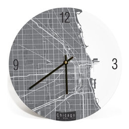 "ArtnWalls - CHICAGO MAP ART Wall Clock - Unique Contemporary Art Wall clock - 11"" Diameter - Abstract Chicago IL, map art - Features the streets of Chicago."
