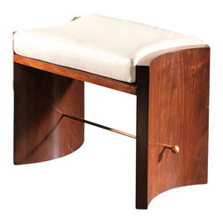 Global Views - Cinch Bench - Walnut - This sophisticated bench has a dramatically curved American walnut or oak base with a brass stretcher for support.  The shaped box cushion is in ivory top grain cowhide leather with baseball stitching and a bottom vent panel.