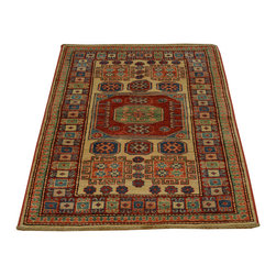 1800-Get-A-Rug - Hand Knotted Ivory High Quality Kazak 100% Wool Oriental Rug Sh16693 - Our Tribal & Geometric hand knotted rug collection, consists of classic rugs woven with geometric patterns based on traditional tribal motifs. You will find Kazak rugs and flat-woven Kilims with centuries-old classic Turkish, Persian, Caucasian and Armenian patterns. The collection also includes the antique, finely-woven Serapi Heriz, the Mamluk Afghan, and the traditional village Persian rug.