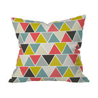 DENY Designs - Heather Dutton Triangulum Throw Pillow, 20x20x6 - Retro yellow-green and salmon pink pop out among the grays and blues to give Heather Dutton's triangle-patterned design just the right amount of brightness. Toss this pillow onto a solid-colored couch and it will instantly animate your space.