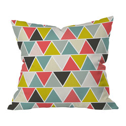 DENY Designs - Heather Dutton Triangulum Throw Pillow - Retro yellow-green and salmon pink pop out among the grays and blues to give Heather Dutton's triangle-patterned design just the right amount of brightness. Toss this pillow onto a solid-colored couch and it will instantly animate your space.