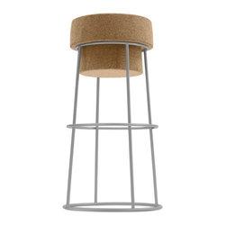 Domitalia - Bouchon Barstool - Cork - Satinated Aluminum Frame - Made in Italy - 1 Year Warranty