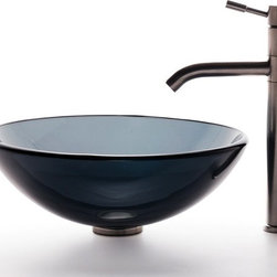 Kraus - Clear Black Glass Vessel Sink and Aldo Stainless Steel Faucet - Add a touch of elegance to your bathroom with a glass sink combo from Kraus