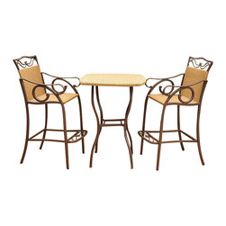 International Caravan - International Caravan Valencia 3 PC Wicker Bar Height Bistro Set - International Caravan - Patio Bistro Sets - 4110S3 - For over 44 years International Caravan has been one of the leaders in quality outdoor and indoor furniture. Using only the finest materials they bring skill craftsmanship and complete dedication to those who enjoy their furniture. You cannot go wrong with any of International Caravan's beautifully constructed pieces of furniture that are sure to be a focal point inside or outside of your home for years to come.