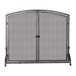 Uniflame - Double-Door Mesh Fire Place Screen w Iron Fra - Maximize your fireplace's functional & aesthetic potential with single-panel, iron fire screen.  Simple, classic yet stylish design helps draw focus to your fireplace.  Two doors with attractive black knobs make access for kindling easier.  Doors with beautifully incorporated mesh pattern offer a visual treat.  Contemporary iron fire screen integrates clean, straight lines with gentle arch. * Stylish Screen is Functional and Attractive. Maintains Fireplace Safety. Allows For Ease and Comfort with Fireplace Maintenance. 39 in. W x 33 in. H