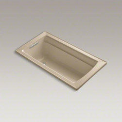 """KOHLER - KOHLER Archer(R) 60"""" x 32"""" drop-in bath with reversible drain - Taking its design cues from traditional Craftsman furniture, the Archer line of baths reveals beveled edges and curved bases for a clean, sophisticated style. This bath offers a low step-over height while allowing for deep, comfortable soaking.  A lumbar arch gently support the natural curves of your body."""