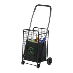 Honey Can Do - Rolling 4 Wheel Utility Cart - Steel construction, 4 heavy duty wheels,foam grip handle, folds flat for storage. 14 in. x 18 5/8 in. x 37.5 in.