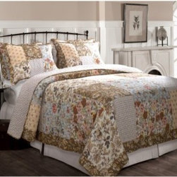 Greenland Camilla Quilt Set - The Greenland Camilla Quilt Set provides a simply patchwork design that brightens any design. This charming bedding set includes a quilt and two matching pillow shams (only one sham for the twin-sized set). Each piece features the same soft 100% cotton as its cover material with a thin layer of cotton filling between the quilt layers. The subtle embroidery of the quilt enhances the cozy color palette of the patchwork squares, featuring a variety of floral patterns. Each piece in the set is machine-washable. Quilt Dimensions:Twin: 88L x 68W inchesFull/Queen: 90L x 90W inchesKing: 96L x 104W inchesAbout Greenland Home FashionsFor the past 16 years, Greenland Home Fashions has been perfecting its own approach to textile fashions. Through constant developments and updates - in traditional, country, and forward-looking styles – the company has become a leading supplier and designer of decorative bedding to retailers nationwide. If you're looking for high quality bedding that not only looks great but is crafted to last, consider Greenland.