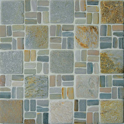 "2"" X 2"" Slate Landscape Mosaic Blend. Sold By The Box 10 Sheets - 2"" x 2"" Natural Stone"