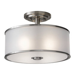 Joshua Marshal - Two Light Brushed Steel Silver Organza Fabric Shade Drum Shade - Finish: Brushed Steel
