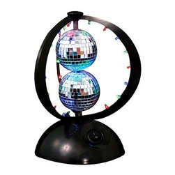 Lumisource - Disco Planet Light in Multi - Highlighted by two mirrored disco balls surrounded by rings studded with LED lights, this disco light will turn any space into a party. Featuring multicolored lights that will shimmer throughout the room as the disco balls spin, the light is a budget friendly way to decorate in style at your next bash. The Disco Planet will get your party started. LED-covered rings surround the double rotating disco balls maximizing your party reflections. 6 in. D x 8.75 in. H (3 lbs.)