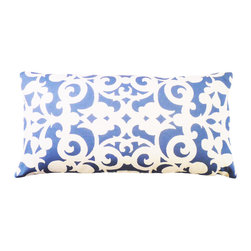 """kee design studio - Arabesco Lumbar Pillow, Lancaster - """"Arabesco"""", an original pattern by Kee Design Studios, is a modern take on a traditional scroll work motif. It is printed on a lovely cotton/linen blend fabric, has a knife-edge finish and an invisible zipper. It features a full and fluffy 10/90 white goose down insert."""