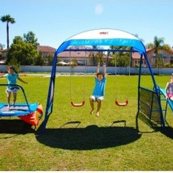 IronKids Premier 100 Fitness Playground Swing Set - Let 'em hang loose with the IronKids Premier 100 Fitness Playground Swing Set. With four activity centers for them and strong safety features for you, this swing set is the one to take home. It's an all-in-one fitness playground for kids 3 to 8 years old. The Fitness Jumper Trampoline, two swings, a Monkey Bar, and the Fitness Slide designed to stand as a cohesive unit. As an added bonus, IRONKIDS comes with a sunshade designed to keep the UV rays, as well as your kids, out. The swing set is designed to strengthen your kids' muscles, minds, and social skills. Safety features on this swing set include vinyl coated chains, a double walled plastic slide, and the Arch Built construction. The Arch Built construction consists of a two inch powder-coated tubular steel frame, corkscrew shaped ground stakes, and a combined total weight capacity of 600 lbs! Overall Constructed dimensions are 13.5L x 10.3 W x 8 H feet, a great size for all. No need to worry about this one, folks! The 42 inch Trampoline is made with a heavy gauge welded steel frame, heat-treated springs, a made-in-the-USA jumping mat, and safety handle to hold on to. Both swings have contoured plastic seats and vinyl covered swing chains. The Fitness Slide and ladder are made of tough polypropylene plastic, and rolled sides to keep little hands safe. Pieces are also UV-treated with added antifreeze protection to stand up to the worst weather conditions. So grab a friend, the instruction manual, and tools and get this new baby set up and ready to go in only 1 to 2 hours. Gone are the days of video games and soda. With your new swing set, let IRONKIDS and their imaginations take them outdoors! Additional features Overall weight capacity: 600 lbs. Vinyl coated chains for safety 2-inch tubular steel frame Corkscrew shaped ground stake system 42-inch Fitness Jumper Trampoline IRONKIDS slide, monkey bar and 2 swings IRONKIDS sunshade for a little heat reprieve Weigh