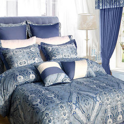None - Atlantis 12-piece Bed in a Bag with Sheet Set - Bring some elegance and opulent style to your bedroom with this luxurious bed in a bag with sheet set. Sporting vivid blue and white accents, this bedding set includes a generous flat sheet, two pillowcases, and two decorative pillows.