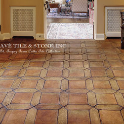 St. Tropez French Terra Cotta Parefeuille - Pave TiIe & Stone Inc. Inspired by the beauty of St. Tropez, France - we developed this collection for the elegance yet organic lifestyle that comes from living along this Mediterranean coastline. The St. Tropez Collection offers warmth of an aged hand made European terra cotta tile with a rich patina and 8 different shapes. The compass rose decoratives with leaf embellishments speak of the natural beauty of this land. Plain field tile installation patterns range from a running bond, off-set, navette with 9x9 and cobblestone pattern.