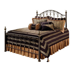 Hillsdale - Hillsdale Huntley Metal Panel Bed in Dusty Bronze Finish-King - Hillsdale - Beds - 1332BKR - Featuring a dynamic dusty bronze finish intricate turnings and castings sculpted finials and scrollwork echoing a heart motif our Huntley bed is impressive in its stature and detail. Boasting a high profile headboard this bed creates an effect that is both traditional and attractive.
