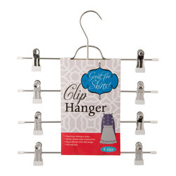 Enchante Accessories Inc - Space Saving 4 Tier Clip Hanger, White - Organize your closet in style with this 4 tier metal skirt hanger. This hanger is made out of very strong metal, strong enough to hang heavy garments. Each hanger features a flat, space-saving body, and 4 tiers of clips for skirts or other garments.