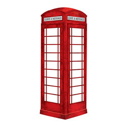 "WallPops - London Phone Booth Wall Decal - The red phone booth is an iconic Brit-pop item and this one serves as a retro-chic art installment and a dry-erase message board! At more than 3 feet high, this novelty dry-erase decal has plenty of space to have fun making notes and lists. The Dry Erase London Phone Booth comes as two pieces on a 26"" x 39"" sheet and comes with a dry erase marker."
