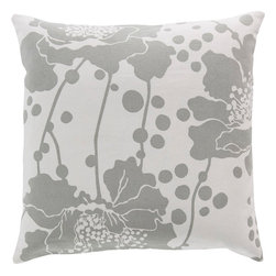 """Surya - Surya FB-022 Alluringly Abstract Floral Pillow, 20"""" x 20"""", Down Feather Filler - Seemingly abstract and utterly unique in its design, this dazzling pillow will create the perfect look for your space. With a flawless floral design subtly placed atop a delicate canvas, this piece, in all its elegance and beauty, will radiate charm from room to room in any home decor. Genuinely faultless in aspects of construction and style, this piece embodies impeccable artistry while maintaining principles of affordability and durable design, making it the ideal accent for your decor."""