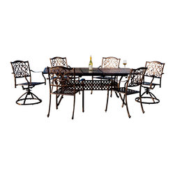 """Great Deal Furniture - Prescott Expandable Cast Aluminum Dining Set (Set of 7) - The Prescott Expandable Cast Aluminum Dining Set (Set of 7) gives you and your family plenty of room to enjoy a meal on your patio or outdoor area. Add more room when guests arrive with an an expandable center section that can host up to 6 adults comfortably. The 2"""" umbrella allows for shading on a sunny day."""