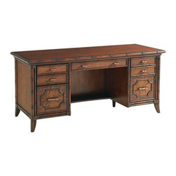 Lexington - Lexington Bal Harbor Isle Of Palms Credenza 293SA-430 - The rattan-trimmed desk top features a touch latch laptop docking station, including an electrical power supply with surge protector, phone, data and USB lines. One each side there are two storage drawers with woven rattan fronts and one full extension file drawer below, with lock on left file drawer. The center features a drop front keyboard drawer with ergonomic palm rest and a shelf below.