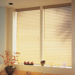 """BlindSaver Advantage 2"""" Faux Wood Blinds - BlindSaver Faux Wood Blinds are distinguished by quality craftsmanship and durability. These products are produced with the highest quality metal and polycarbonate components. Additionally, our faux wood blinds are built on a roll-formed, heavy-duty steel headrail, which further increases the strength and stability of the product. The operating components are secured inside the headrail by means of snap-in fittings. The cord lock incorporates a stainless steel wear guard and has a crash-resistant safety feature that locks the blind automatically once the lift cords are released. To provide smooth operation and tight slat closure, the cord tilter utilizes a steel gear housing, while the wand tilter option incorporates heavy duty components ensuring longevity."""