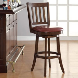 INSPIRED by Bassett 30 in. Mission Swivel Bar Stool - Crimson Red - For some, the best local tavern is the one in their own home! You and your friends will love kicking back and having a brew atop the INSPIRED by Bassett 30 in. Mission Swivel Bar Stool - Crimson Red. Crafted from Sumatra solid wood, this handsome stool with flared legs and backrest makes a fine addition to any home bar. The cushioned seat will definitely make a bold statement with its bonded eco leather upholstery in crimson red! It's a powerful combination of colors that really works well. Details like the full bearing swivel mechanism that lets you turn 360 degrees without getting up and the metal scuff rail guard that adds extra support for your barking dogs. It's a piece that's so well built and richly finished that it fits perfectly in even the most sophisticated of settings. Measures 21.75W x 21.75D x 46H inches. Assembles in two easy-to-attach pieces. Please note: This item is not intended for commercial use. Warranty applies to residential use only.INSPIRED by BassettBassett Furniture is known the world over for its high-quality traditional furniture designs. INSPIRED is a brand-new collection from Bassett that redefines classic furniture in a smart way that addresses the needs of the modern lifestyle. These pieces are made to improve your life as much as the technology you rely on everyday, and to look great doing it. Go ahead, be inspired.