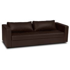 Modern Sofa Beds Eperny Brown Faux Leather Sleeper Sofa