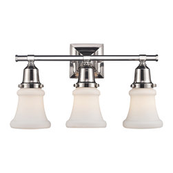 Elk Lighting - Barton 3-Light Vanity in Polished Nickel - This series exhibits white hand-blown mission style glass with an oversized glass holder for added impact. Hardware is Finished in polished nickel to highlight the quality components of this Refined Collection.