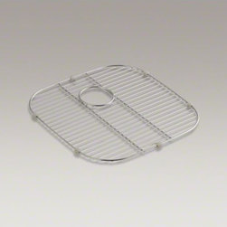 """KOHLER - KOHLER Stainless steel sink rack, 18"""" x 17-3/4"""" for K-3356 Undertone(R) and K-33 - Designed to sit inside the left-hand basin of K-3356 Undertone and K-3356-HCF Undertone Preserve XL/medium double-bowl sinks, this stainless-steel rack helps safeguard your fragile dishes and provides a flat work surface in the sink bowl. Innovative wheel"""