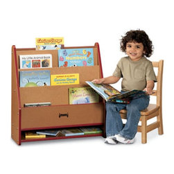 """Jonti-Craft - Jonti-Craft SPROUTZ Toddler Pick-a-Book Stand Bookcase - 0071JC340 - Shop for Childrens Bookcases from Hayneedle.com! Let your toddler choose what to read with the help of the display shelves of the Jonti-Craft SPROUTZ Toddler Pick-a-Book Stand. Made of 100% recycled wood fiber this environmentally friendly book stand has three shelves ideal for hardboard books. An open bottom shelf is great for holding smaller board books. Choose from four edge-banding color options. Other special features include fully rounded KYDZSafe edges and KYDZStrong construction employing the dowel-pin technique which leaves the thickness of the material intact where most of the stress occurs. The KYDZTuff finish resists stains won't yellow cleans easily and is as tough as the coating used on gym floors. Because of its """"green"""" construction this toddler book stand promotes better indoor air quality and may contribute to up to five L.E.E.D. credits. Backed by a five-year manufacturer's warranty."""