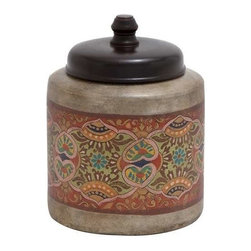 Benzara - Terracotta Jar with Beautiful Ethnic Drawings and Sturdy Black Colored Lid - Terracotta jar with beautiful ethnic drawings and sturdy black colored lid. Take your mind away from the brass and shiny art so popular and common these days and be reminded of the beauty of traditional art with this delightful terracotta jar. Some assembly may be required.