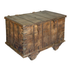 Sierra Living Concepts - Reclaimed Wood Large Weathered Bedroom Rolling Trunk Chest - Bring home the romance of steam engines and travel in the old west with our Rustic Railroad Rolling Chest. This multi-use storage box captures the spirit of bygone days. The trunk on wheels is built with reclaimed wood from Gujarat. The surface of the old wood is naturally aged and weathered over time giving it an authentic antique quality. The chest lid is attached to the back and folds all the way back so you have complete access to the contents. It is easy to move the naturally distressed chest from room to room; it stands on industrial quality wheels. Use it as a coffee table, linen chest, or hall table.