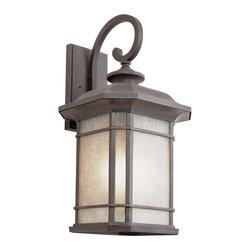 Joshua Marshal - One Light Rust Tea Stained Linen Glass Wall Lantern - One Light Rust Tea Stained Linen Glass Wall Lantern
