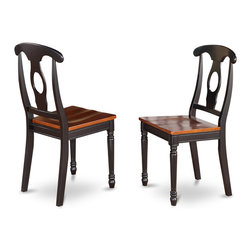 """East West Furniture - Kenley Nappoleon Dining Chair with Wood Seat in Black and Cherry - Set of 2 - Kenley Nappoleon-Styled Dining Chair with Wood Seat in Black & Cherry; Kenley's simple and elegant dining room sets complement any kitchen with rich accents and sophisticated style.; These Kenley table and chairs offer appeal and simple design for a comfortable and relaxed impression with a simple touch of class.; Elegant dinette in rich cherry finish with black accents.; Oval dining table with 18"""" butterfly leaf.; Beautiful Napoleon style dining chairs with wood seats .; Constructed from exquisite Asian solid wood.; Simple assembly required; Weight: 34 lbs; Dimensions: 18""""L x 18""""W x 38.5""""H"""