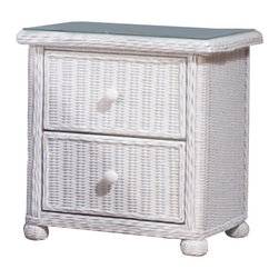 WickerParadise - Wicker 2 Drawer Nightstand - Elana - Wicker and white, it's a classic combination. This pretty nightstand has plenty of storage space with two drawers and a wood frame. It's just as at home in your guest room, child's bedroom or in your master bedroom.