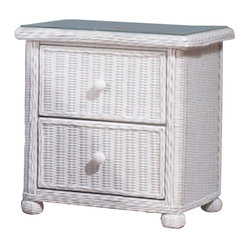 WickerParadise - Elana 2-Drawer Wicker Nightstand - Wicker and white, it's a classic combination. This pretty nightstand has plenty of storage space with two drawers and a wood frame. It's just as at home in your guest room, child's bedroom or in your master bedroom.