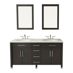 "JWH Imports - 59"" Rana Double Sink Modern Contemporary Bathroom Vanity Furniture Cabinet - Your master bath should be a retreat. A place you can go to relax and contemplate your good fortune. And that room needs this. Luxurious and spacious, this vanity keeps everything in its place so there's no clutter. Soft close drawers prevent damage and the countertop is nonporous. Beautiful, easy-to-care-for and lots of storage. Can there be more in life?"