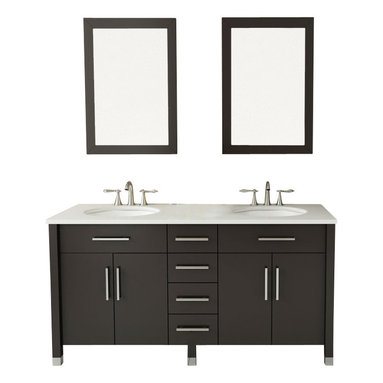 """JWH Imports - 59"""" Rana Double Sink Modern Contemporary Bathroom Vanity Furniture Cabinet - Your master bath should be a retreat. A place you can go to relax and contemplate your good fortune. And that room needs this. Luxurious and spacious, this vanity keeps everything in its place so there's no clutter. Soft close drawers prevent damage and the countertop is nonporous. Beautiful, easy-to-care-for and lots of storage. Can there be more in life?"""