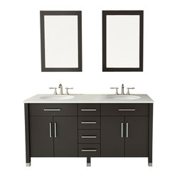 "59"" Rana Double Sink Modern Contemporary Bathroom Vanity Cabinet"