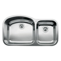 Undermount Double Basin Kitchen Sink - A nice undermount which is attractively priced-the one oversized bowl is usefully shaped in that it is very big and has the room for even the largest pots and pans.