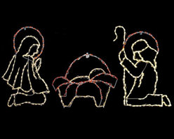 Brite Ideas - Outdoor LED 3 Piece Warm White Nativity Scene - 350 Bulbs - LED-NS40WW - Shop for Holiday Ornaments and Decor from Hayneedle.com! Mary Joseph and Jesus make up this LED 3 Piece Warm White Nativity Scene Set for your business home or church. The image is striking as well as fun and bright creating a perfect environment for holiday fun and reverence.Mary measures: 49 x 30 inches; 150 lightsBaby Jesus measures: 27 x 36 inches; 50 lightsJoseph measures: 51 x 36 inches; 150 lightsAbout Brite IdeasEstablished in Omaha Neb. in 1990 Brite Ideas Decorating Inc. has become a holiday lighting industry leader providing customers across the United States with durable cutting edge lighting displays for both residential and commercial applications.Featuring a full line of innovative LED products and uniquely designed displays Brite Ideas appeals to tradition modern simple and even ornate tastes. It is their mission to promote excellence in the holiday lighting industry. With that in mind Brite Ideas products go above and beyond the standard to create the best holiday atmosphere for you.