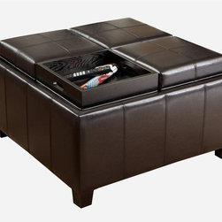 Best Selling Home - Mason Leather Tray Top Storage Ottoman - Multipurpose. Four flip over lids that double as serving trays. Four large interior storage spaces. Darkly stained sturdy wood frame. 31 in. L x 31 in. W x 18.75 in. H