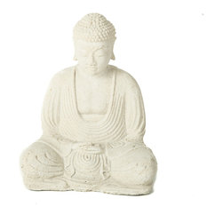 Repose Home - Peaceful Buddha, Natural White - This statue features Buddha in meditation. The tight-knit spirals adorning Buddha's head represent a group of snails who, legend has it, kept his head cool as he sat deeply meditating in the afternoon heat. Cast in rich, antique brown volcanic ash and weatherproofed for indoor or outdoor use.