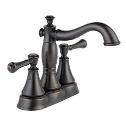 "Delta - Delta 2597LF-RBMPU Cassidy Two-Handle Lavatory Faucet (Venetian Bronze) - Delta 2597LF-RBMPU Cassidy two handle Lavatory Faucet with pop-up (Venetian Bronze). The Delta 2597LF-RBMPU is part of the Cassidy Series. This two handle kitchen faucet comes with a convenient matching side-spray for getting the water exactly where you need it. Its two lever handles allow for precise volume and temperature control, and it has an 8-21/32"" long, 13-15/32"" tall spout that has a full 360-degree swing radius. This faucet comes with 1/2""-14 NPSM threaded male inlet shanks, and a 1.8 GPM flow rate. This model comes in a dramatic, Venetian Bronze finish, and comes with a metal pop-up drain assembly."