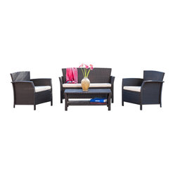 Great Deal Furniture - Clearwater Outdoor 4pc Brown Wicker Sofa Set - The Clearwater sofa set is perfect for entertaining guests in any outdoor setting. The set comes with a loveseat, two armchairs, and a table and can be configured in multiple ways to optimize the beautiful social environment that you can create. Place this set in your backyard patio, deck or poolside.
